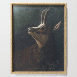 Karl Wilhelm Diefenbach - Head of a Chamois (Goat-Antelope) (1895) Serving Tray