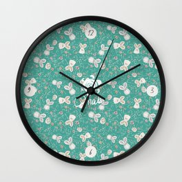 Pastel easter eggs and bunnys III Wall Clock