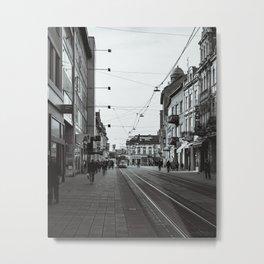 Tram on the streets of Osijek, Croatia / City / B&W / Monochrome Metal Print
