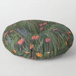 Meadow Pink Floral Wildflowers Illustration Botanical Cottage Garden Flowers Nature Art Floor Pillow