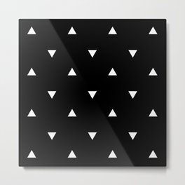 Black and white Triangles geometric pattern Metal Print