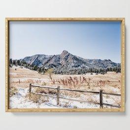 Flatirons Boulder // Colorado Scenery Mountain Landscape Snowfall Fence Line Serving Tray