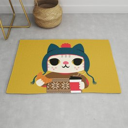 Holiday - Cat in a Sweater / Mustard Yellow Rug