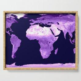 Purple World Map Serving Tray