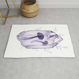 Crystal myshrooms watercolor illustration Rug