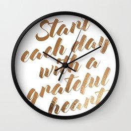 Grateful Gold Foil Wall Clock