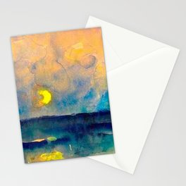 Yellow Moon (Over the Sea) landscape painting by Emil Nolde Stationery Cards