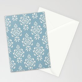 Crest Damask Repeat Pattern Cream on Blue Stationery Cards