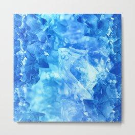 Bright blue quartz crystal cluster Metal Print