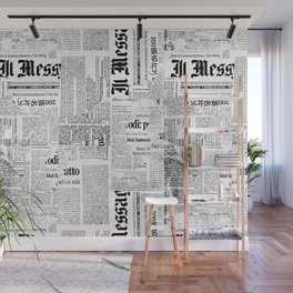 Black And White Collage Of Grunge Newspaper Fragments Wall Mural
