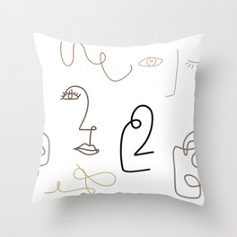 Abstract Face: Nudes Throw Pillow