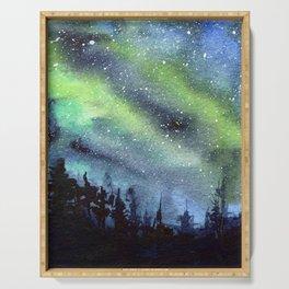Galaxy Nebula Watercolor Northern Lights Aurora Borealis Serving Tray