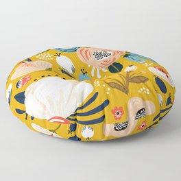 Mid-Century Modern Floral Print on Mellow-Yellow Floor Pillow