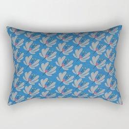 Silver Flowers – Bluebell – Scandinavian Folk Art Rectangular Pillow