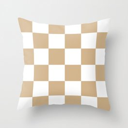 Large Checkered - White and Tan Brown Throw Pillow