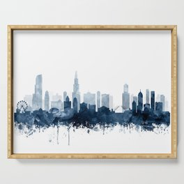 Chicago Skyline Navy Blue Watercolor by Zouzounio Art Serving Tray