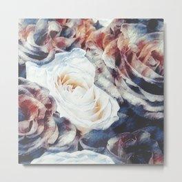 Roses print in retro drawing style watercolor digital Metal Print