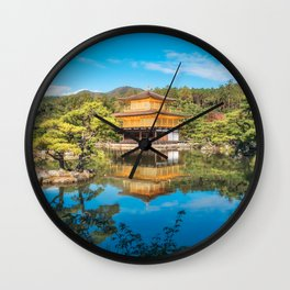 The Golden Pavilion located in a beautiful Japanese Zen Garden in Kyoto. Wall Clock