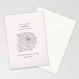Botanical seed packet illustration - Zinnia Stationery Cards