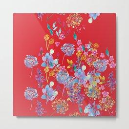 Fridas Flowers in Red Metal Print
