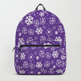 Snowflake Snowstorm With Purple Background Backpack