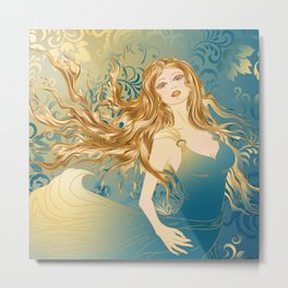 Golden Teal Woman Metal Print