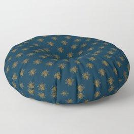Vintage Midnight Blue and Golden Honey Bee Floor Pillow
