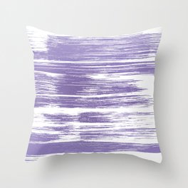 Modern abstract lilac lavender white watercolor brushstrokes Throw Pillow