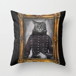 old painting cat hussard Throw Pillow