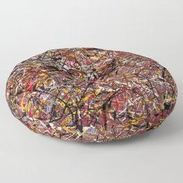 ELECTRIC 071 - Jackson Pollock style abstract design art, abstract painting Floor Pillow
