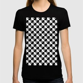 Black and White Checkerboard Scales of Justice Legal Pattern T-shirt