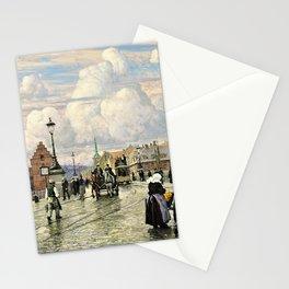 Paul Gustav Fischer - A Scene From Knippelsbro, Bridge In Copenhagen, When The Artist Was A Boy Stationery Cards