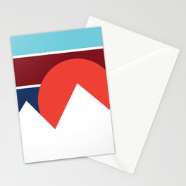 Retro Mountain Sunset Design Stationery Cards