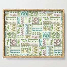 Polynesia Geometric Tapa Cloth - Earth Colors Serving Tray
