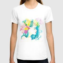 Aqua Watercolor Portrait T-shirt