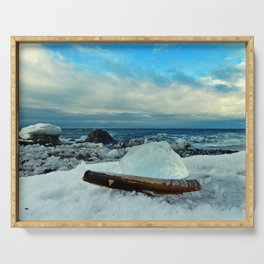 Spring Comes to the Beach in Ice that glows Blue Serving Tray