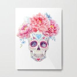 Mexican Skull Bone Candy Calavera Flower Crown Diamond Third Eye Flowers Watercolor Painting Metal Print