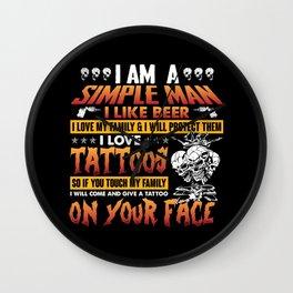 I Am A Simple Man I Like Beer I Love Tattoos Funny Halloween Wall Clock