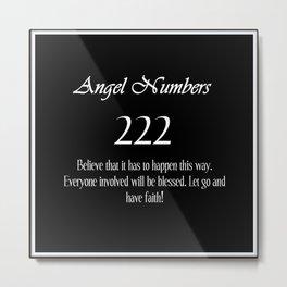 ANGEL Numbers 222 Metal Print