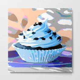 Chocolate Cupcake with Blue Buttercream Metal Print