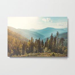 Amazing mountain landscape with colorful vivid sunset on the cloudy sky, natural outdoor travel background. Beauty world. Metal Print
