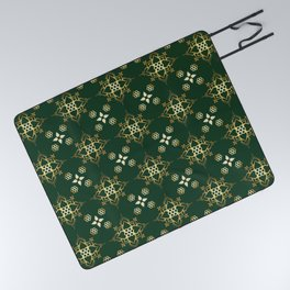 Indian Golden Lotus Harmony Mandala Pattern with Classy Green background color Picnic Blanket