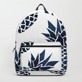 Tropical Prints, Navy Blue and White Pineapple, Hawaii Print Backpack