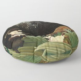 Henri Rousseau - Scouts Attacked by a Tiger Floor Pillow