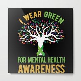 Mental Health Awareness Green Ribbon Metal Print