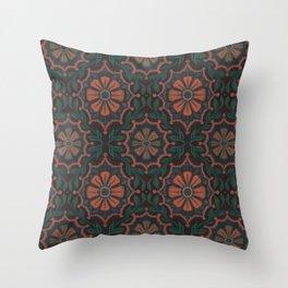 Folk Flower, Vintage Bohemian Floral Pattern Burnt Sienna Throw Pillow