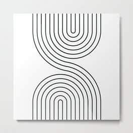 Geometric Lines in White and Black 7 Metal Print