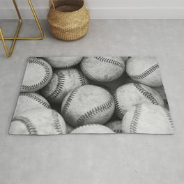 Baseballs Black & White Graphic Illustration Design Rug