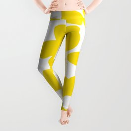 Large Yellow Retro Flowers on White Background #decor #society6 #buyart Leggings