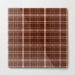 White And Brown Plaid Lumberjack Flannel Metal Print